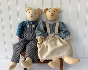 BIG SALE - Primitive Dolls - Boy and Girl - in a Country Dress and Overalls - Blue and Ivory - Pair of Fabric Dolls