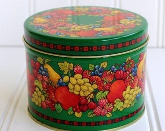 BIG SALE - Vintage Tin - Hallmark Fruit Design on Green - Container - Storage - Sale
