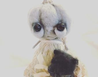 Greta the grey pumpkin Ooak art doll