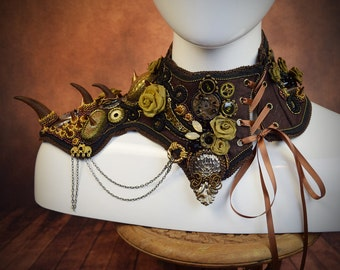 Steampunk Neck Corset - Shoulder Armor - womens armor - Fantasy Armor - Steampunk Pauldron - Shoulder Armour - larp armor - spike epaulettes