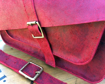 Hand Stitched Waxy Red Leather Satchel