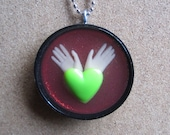 Angel Heart -  Upcycled Doll Pendant