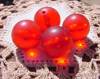 Frosted Crimson Glow Vintage Lucite Beads