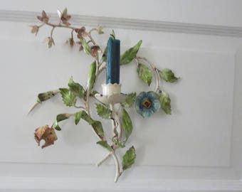 Vintage Shabby Chic Italian Tole Wall Sconce, Floral Motif in Cream, with Blue, Orange and Yellow Flowers, Green Leaves, Chippy Chic Appeal