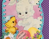 Crochet Easter Ornament - Easter Greetings - Flocked Bunny - Recycled Vintage Greeting Card