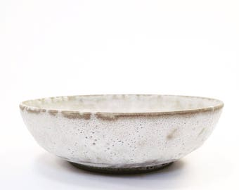 Ships Now- large stoneware serving bowl in crater white glaze by srapaloma