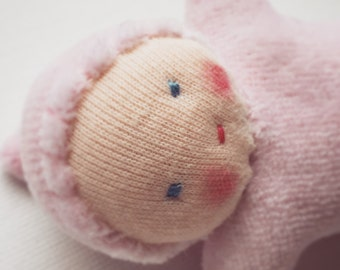 pale pink, Waldorf baby doll, germandolls, Pocket Doll, waldorf toy, for girls, Easter basket