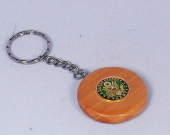 Handcrafted Maple Round Keychain with Military Pin
