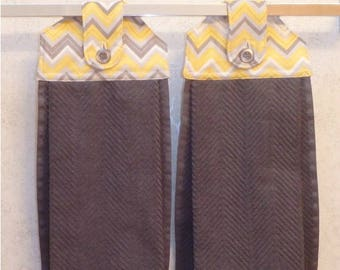 SET OF 2 - Hanging Cloth Top Kitchen Hand Towels - Gray and Yellow Chevron Print, Larger Charcoal Grey Sculptured Towels