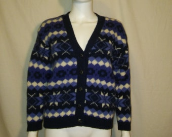 Wool Cardigan Sweater // Thick Sweater // Winter Ski Snow Cardigan