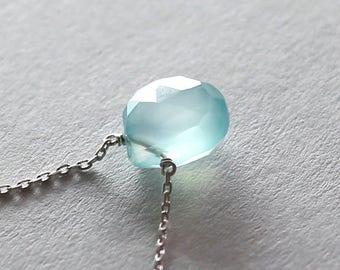 Sky Blue Chalcedony Necklace, Minimal Sterling Silver Jewelry, Layering Necklace, Sky Blue Necklace, Sterling Silver Necklace