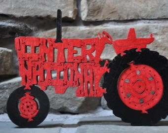 International  Antique Red Farm Tractor Toy Puzzle Hand Cut