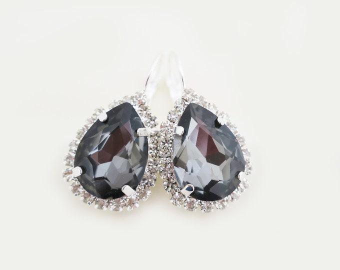 Grey Crystal Drop Earrings in Vintage Style