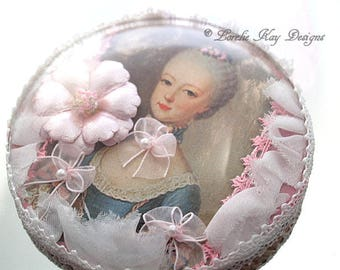 Marie Antoinette Curved Glass Ornament Picture Sweet Assemblage Girly Flowery Pink Marie Style Lorelie Kay Original