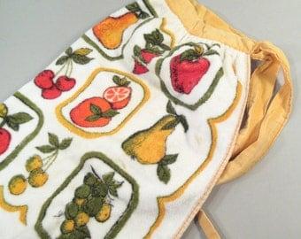 Vintage terry cloth half apron, towel apron, fruit apron, 1970s apron, yellow, fruit design, oranges, cherries, limes, apple, kitchen apron