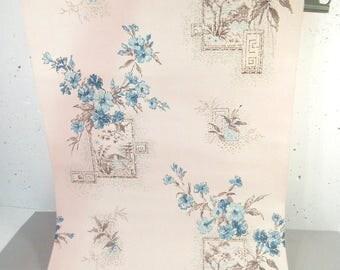 Vintage wallpaper, blue flowers, scenic, blue and beige floral, asian, mid century, greek key unused wallpaper