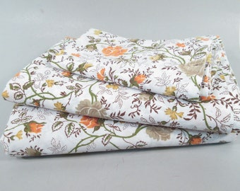 Vintage twin sheets, twin size sheets, floral sheets, boho sheets, prairie sheets, orange and brown sheets, 1970s floral print flower sheets