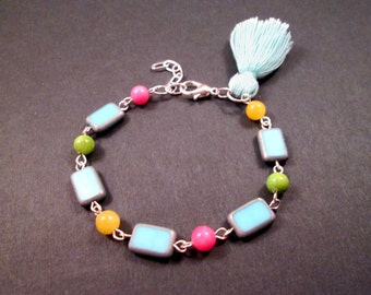 Tassel Bracelet, Picasso Glass and Jade Stone Beaded Bracelet, Colorful and Silver Charm Bracelet, FREE Shipping U.S.