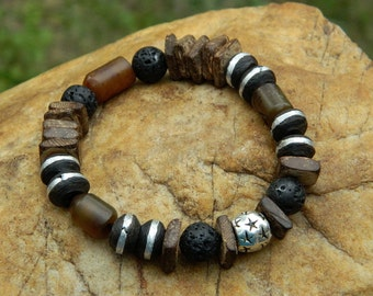 Men's Coconut Wood and Etched Jade Gemsone Bead Bracelet