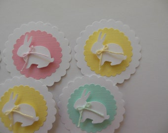 Bunny Rabbit Cupcake Toppers - Pink, Yellow and Mint Green - Girl Baby Shower Decorations - Girl Birthday Decorations - Set of 6