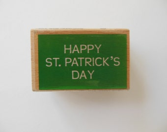 Happy St. Patricks Day Stamp - Wood Mounted Rubber Stamp
