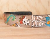 Leather Guitar Strap - Handmade with Dia De Los Muertos Dancing Skeleton and Flowers - The Dancer - For Acoustic or Electric Guitars
