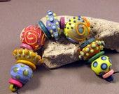 Lampwork Glass Beads Handmade by Mona Sullivan - Summer Fiesta - Lampwork by Monaslampwork Bohemian Enamels Fine Stringer Dots Flowers