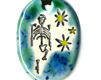 Lucy in the Sky with Diamonds Ceramic Necklace in Blue