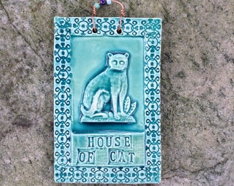 House of Cat Tile In Turquoise