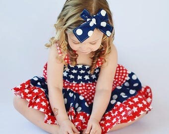 Girls 4th of July Bow - Girls Hair Bow - Girls Headband -Baby Hair Bow - Baby 4th of July Hair Bow - Toddler Headband - Toddler Bow - Bow