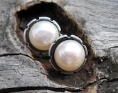 20% OFF TODAY Fresh water pearl sterling silver flower stud earrings / medium