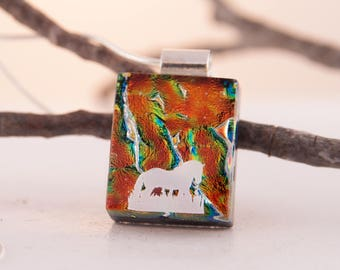 Horses Dichroic Pendant - Fused Dichroic Glass Necklace - Dichroic Glass Jewelry - Horse Jewelry