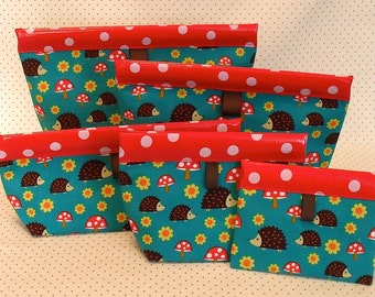 Hedgehog Oilcloth Snappy Pouch - Five Sizes