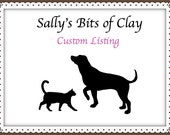 Custom Listing - Black and Tan Easter Chihuahua with bunny ears and Carrot by Sally's Bits of Clay