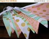 ENTIRE Store On SALE Mint, Pink, Metallic Gold Fabric Bunting Flag Banner, Garland Bunting.  Chevrons, Dots, Party, Wedding Decor, Kids Room