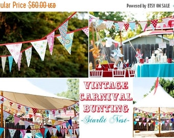 Entire Shop On SALE Set of TWO Carnival Themed Fabric Bunting Banners,  Vintage Circus, Designer's Choice.  Flag Garland for Kids Room, Wedd