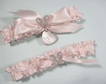 Pink Blush Butterfly Wedding Garter Set, Personalized Wedding Garters in Satin with Rhinestone Butterflies