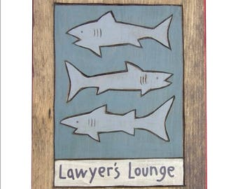 Lawyer's Lounge Wooden Painting
