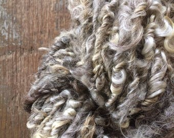 Grey curly yarn, 32 yards, undyed bulky art yarn, natural grey wool yarn, rustic wool yarn, textured yarn,