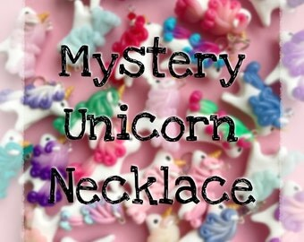 Mystery Unicorn Necklace - Polymer Clay Unicorn Charm Necklace