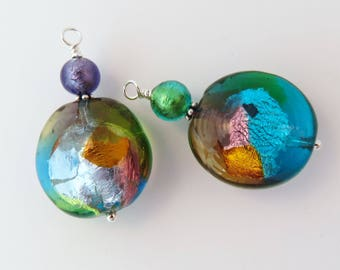 Murano Glass Earrings, Venetian Earrings, Original Mother's Day Gift for Her, Multi-Colored, Interchangeable, Fun, Eye-catching, Bold
