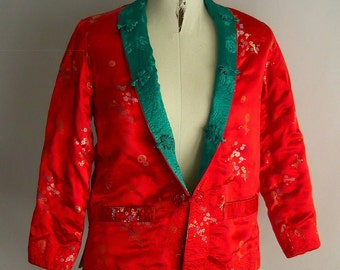 Vintage QUILTED Mandarin Jacket Asian Coat /size medium 8 10 12 / REVERSIBLE Turquoise RED / Brocade Floral Oriental Long Sleeves