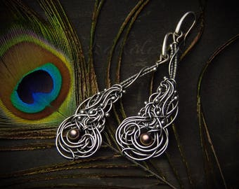 Paon - unique handcrafted silver earrings with pearls