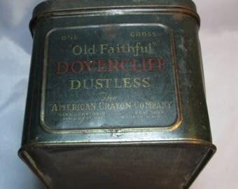 VTG Old Faithful Dovercliff Dustless Chalk Tin American Crayon Co. Sandusky, OH