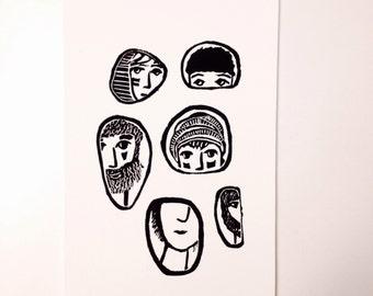 linoprint, blockprint, artprint, linocut print, 6x9, handprinted, handpulled, handcarved, men, faces, illustration