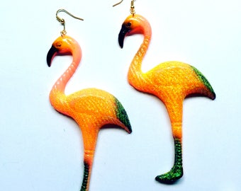 Extra Large Flamingo Exotic Bird plastic charm earrings festival jewelry