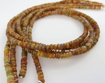 2mm Smooth, Ethiopian Welo Opal Gemstone Rondelle Beads - Full Strand