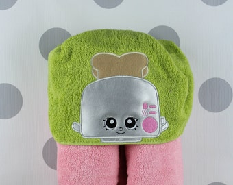 Toddler Hooded Towel - Shopkins Toaster Hooded Towel – Shopkins Toaster Towel for Bath, Beach, or Swimming Pool