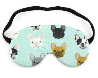 French Bulldog on Mint Sleep Eye Mask, Sleeping Mask, Travel Mask, Sleep Mask, Travel Gift, Gift for her