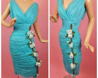 1960s Teal Blue Chiffon Wiggle Dress with Roses - Ruched Skirt - Cocktail Dress